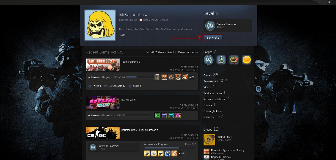 How to change your Steam profile foundation